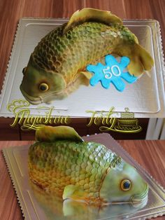 Carp cake :)  #Birthday #cake #3D #carp #airbrush #fish #for #fisherman