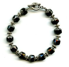 Sterling Silver Black Cathedral Glass Beaded Bracelet with Toggle Clasp Amber Killinger. $40.00. Handmade. Made in the USA