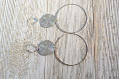 Long Silver Hoop Earrings, Textured Silver Coin Earrings, Large Silver Disc Earring, Long Drop Earrings, Christmas Gift for Wife, Girlfriend by ESBeadworks on Etsy