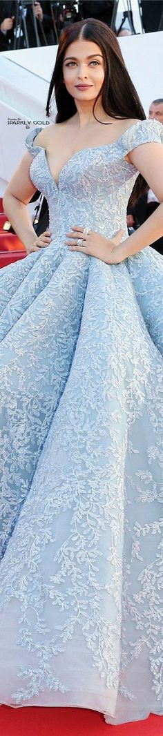 Aishwarya Rai • Cannes Film Festival • 2017 • Ice Blue w. Embroidered Lace on Gown x Michael Cinco
