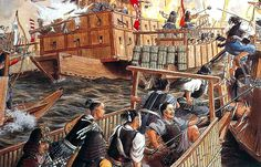 """The first battle of Kizugawaguchi in 1576 was a naval victory won by the piratical Murakami navy who served the Mori family against Oda Nobunaga"""