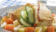 Stekt fiskepudding med rotgrønnsaker