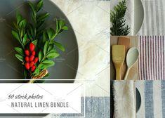 Natural linen fabric bundle. by otabalyuk on @creativemarket