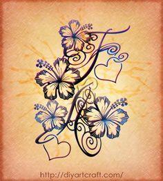 Eleganti maiuscole stilizzate con fiore di hibiscus in 3 disegni tattoo | tattoo diyartcraft