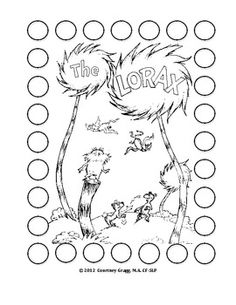 The Lorax DOT Reinforcer FREE Download On TpT Dr Seuss Coloring PagesPrintable PagesColoring Pages For KidsColoring SheetsFree