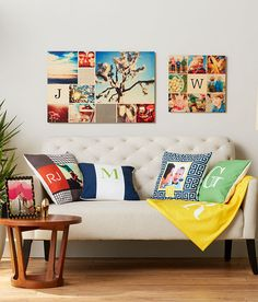 Show off your family's initials in a fresh new way with Shutterfly home decor. Wood wall art and pillows make great places for monogram art. | www.Shutterfly.com