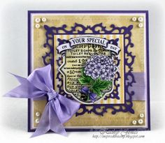 Your Special Day card designed by Kathy Jones using Botanical Medallions & Banners, Ticking Stripe Background Stamp