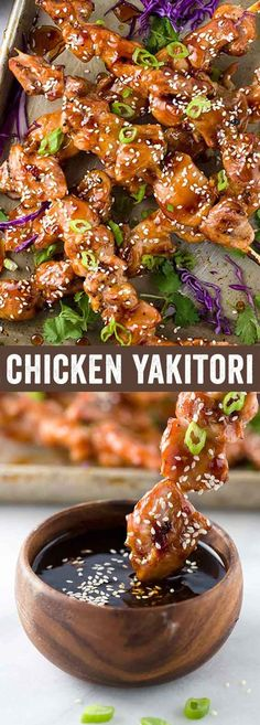 Chicken yakitori is an easy Japanese grilled recipe served on skewers. The meat is basted with a savory sweet sauce as it cooks over a hot barbecue grill. A quick appetizer for a crowd or dinner served with a few extra sides. via @foodiegavin