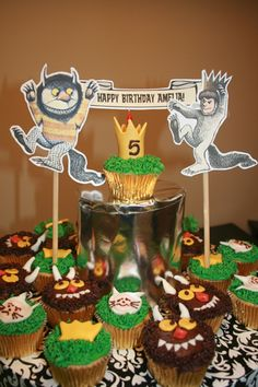 where the wild things are cupcake themed party. how cute can it get!?