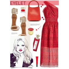 Eyelet dress! by joliedy on Polyvore featuring self-portrait, Aquazzura, Marni, Burberry and Annick Goutal