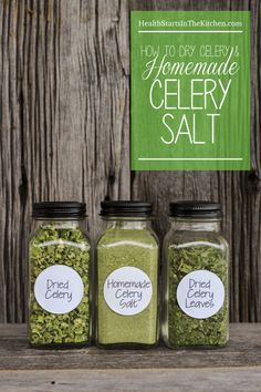 Homemade Celery Salt Recipe and How To Dry Celery and Celery Leaves POSM Note: Copy Cat GS Italian Dressing ingredient Homemade Dry Mixes, Homemade Spices, Homemade Seasonings, Celery Salt Recipe, Celery Recipes, Plat Vegan, Do It Yourself Food, Dehydrator Recipes, Dry Rubs