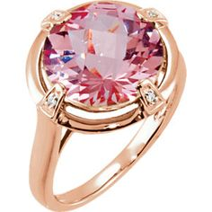 68161 / Set / 14kt Rose / 7 / Polished / Gen Morganite and .02 CTW Diamond Ring