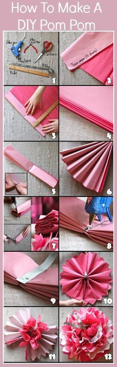 How-to tutorial for making the Pom-poms. All you need is tissue, some string scissors and some friends to help. :)