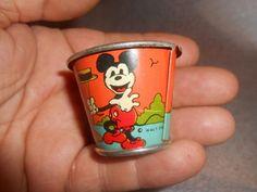 Mickey Mouse Toys, Vintage Mickey Mouse, Vintage Disney, Disney Mickey Mouse, Metal Toys, Tin Toys, Children's Toys, Cupcake Dolls, Tin Pails