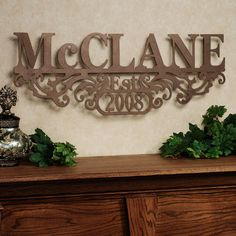 Kinship Family Name and Year Personalized Metal Wall Art Sign www.touchofclass.com