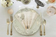 Lovely fan menu and mint green