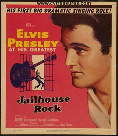 "Elvis Presley Movie Posters in ""Jailhouse Rock"" window card original vintage film poster.   Elvis Presley vintage memorabilia. See it at www.cvtreasures.com , Conway's Vintage Treasures    $850"