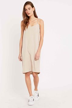 This is Welcome Minnie V-Neck Slip Dress in Nude