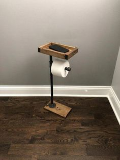 Toilet Paper Stand With Basket Shelf, Floor Stand TP Holder, Paper Dispenser, Rustic, Pipe Toilet Paper Holder, Industrial Stand, Wood Stand #LeatherFlooring