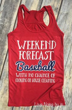 Weekend Forecast, Baseball, Baseball Mom, Softball, Softball Mom, Weekend Baseball, Womens Flowy Baseball Tank Pictured in red, womens flowy tank, with white font and blue glitter. Colors can be changed upon request. Please leave colors in Notes to Seller section at checkout. Womens