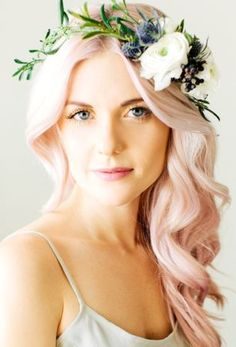 Love this floral crown on soft pastel pink hair. GAHHH I really wish i could pull off pink hair :( Hair Inspo, Hair Inspiration, Wedding Inspiration, Pretty Hairstyles, Wedding Hairstyles, Pink Hairstyles, Bridal Hairstyle, Pastel Pink Hair, Pretty Pastel