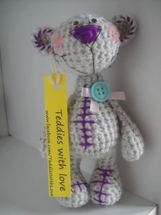 teddy Crochet Teddy, Crochet Bear, Bears, Dinosaur Stuffed Animal, Craft Ideas, Dolls, Sewing, Crafts, Animals