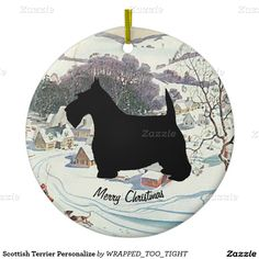 Scottish Terrier Personalize Double-Sided Ceramic Round Christmas Ornament