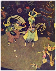 Edmund Dulac - Sinbad the Sailor, originally published as part of The Arabian Nights, 1907 - Alladin: the nuptial dance