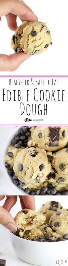 Edible Cookie Dough recipe and How-To Make it Healthy, Gluten-Free, Dairy-Free and Lower-sugar! Making safe-to eat and egg-less cookie dough with just 7 simple ingredients and tips to baking the flour! Dreams do come true. Vegan Desserts, Just Desserts, Delicious Desserts, Yummy Food, How To Make Desserts, Heathy Dessert Recipes, Desserts Diy, Easter Desserts, Yummy Drinks