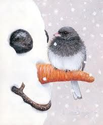 Snowman and bird illustration Christmas Snowman, Winter Christmas, Merry Christmas, Xmas Holidays, Summer Winter, Christmas Christmas, Arte Country, Frosty The Snowmen, Christmas Paintings