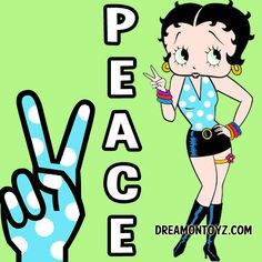 ☮ PEACE More Betty Boop graphics & greetings:  http://bettybooppicturesarchive.blogspot.com/  ~And on Facebook~ https://www.facebook.com/bettybooppictures ~ #BettyBoop giving the Peace sign