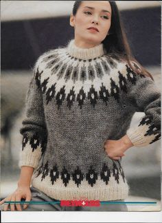 Fair Isle Knitting Patterns, Sweater Knitting Patterns, Knitting Designs, Icelandic Sweaters, Vintage Knitting, Pattern Fashion, Knitwear, Knit Crochet, Outfits