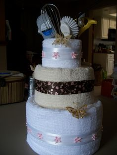 Bridal Shower Gift Wedding Cake Made From Bath Towels A Glass Vase And Random