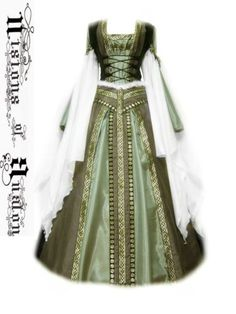 Green Medieval  Renaissance Celtic Fantasy Dress