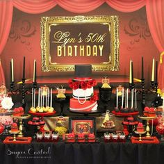 50th surprise birthday styled by #sugarcoatedcandydessertbuffets In #red #black…