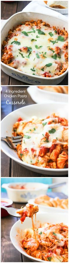 4 Ingredient Chicken Pasta Casserole | Easy weeknight recipe, or you can make it ahead of time!