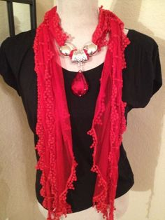 Premium Red Lace Scarf w/ Red Rhinestone Drop| Jeweled Scarf