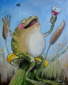 Frog art print- The Good Life- Giclee print on watercolor paper. Frog Illustration, Watercolor Illustration, Frog Pictures, Frog Art, Cute Frogs, Frog And Toad, Poster Prints, Art Prints, Art Pages