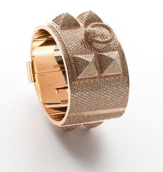 The Ultimate Cuff: Hermes rose gold and diamond pave set