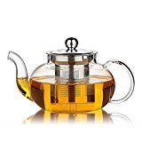 #7: Hiware Good Glass Teapot with Stainless Steel Infuser & Lid Borosilicate Glass Tea Pots Stovetop Safe 27 Ounce / 800 ml