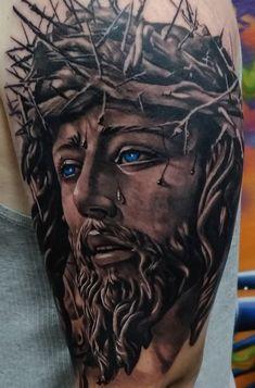 70 Tatuagens Religiosas incríveis você para se inspirar - Top Tatuagens Jesus Tattoo On Arm, Jesus Tattoo Sleeve, Religious Tattoo Sleeves, Jesus Tattoo Design, Christ Tattoo, Angel Tattoo Designs, Sleeve Tattoos, Tattoo Jesus Cristo, Religion
