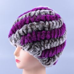 Genuine Rex Fur Pom poms Snow Winter Hats