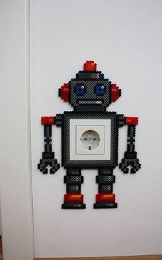 Robot light switch frame hama beads by Heissgeliebt - Party Ideas Perler Bead Designs, Diy Perler Beads, Perler Bead Art, Bead Crafts, Diy And Crafts, Crafts For Kids, Hama Beads Patterns, Beading Patterns, Perler Bead Disney