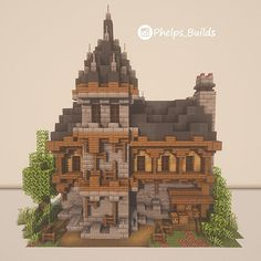 Idk what this person thinks the victorian era looked like but cool framing Minecraft Kingdom, Art Minecraft, Minecraft Mansion, Minecraft Structures, Minecraft Cottage, Cute Minecraft Houses, Minecraft Plans, Minecraft Survival, Minecraft Decorations
