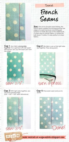 Made By Meg: French Seams Tutorial - French seams for 5/8 seam allowance