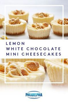Looking for a dessert sure to wow everyone at your Easter brunch? Look no further than this deliciously creamy recipe for Lemon White Chocolate Mini Cheesecakes. #ItMustBeThePhilly
