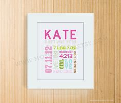 Love this!!!!  Mixed Typography Birth Print by mosieposies on Etsy, $20.00