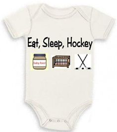 Eat sleep hockey newborn baby infant bodysuit one piece creeper | Teesbytini - Clothing on ArtFire