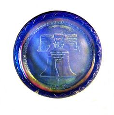 "Indiana Glass Harvest Blue Iridescent Carnival Liberty Bell 8"" Collectors Plate #IndianaGlass"