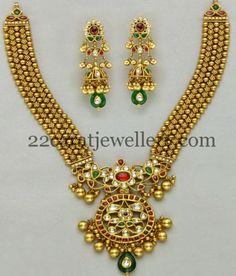 Jewellery Designs: Kundan Gold Set with Splendid Jhumkees